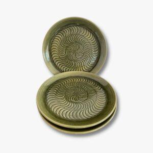Grüner Keramikteller Secondhand Vintage Möbel Dekoration Schweiz
